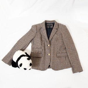 Brown plaid J. Crew wool blazer jacket
